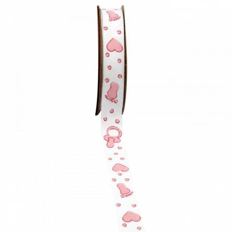 Ruban en coton avec impressio pied, coeur, tétine rose Dimensions : 15 mm x 5 mètres Non laitonné