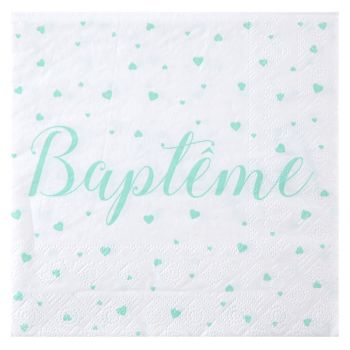 20 Serviettes baptème mint