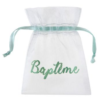 6 Sachets organdi Baptème mint
