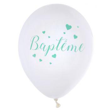 10 Ballons Baptème mint