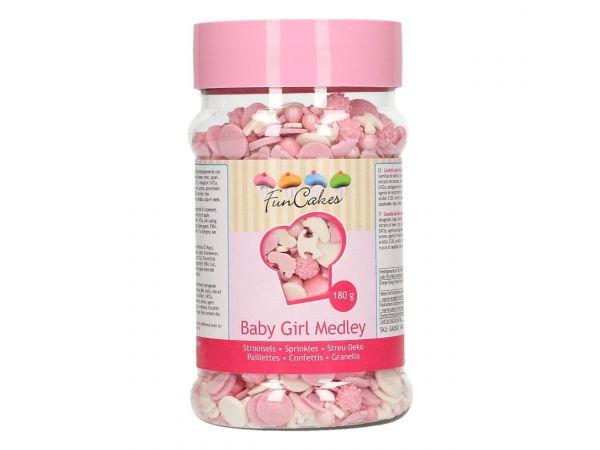 Confettis en sucre mélange baby girl- deco de gâteau