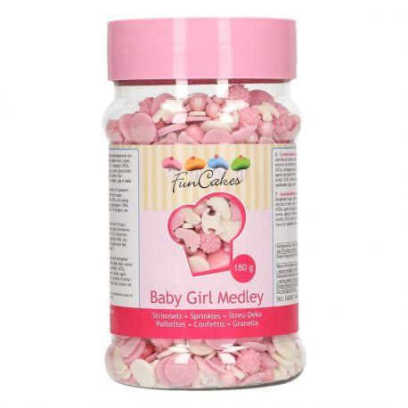 Pot de confettis en sucre pour la déco vos supers gâteaux sur le thème baby girl, baptème, naissance, baby shower... Poids 180gr