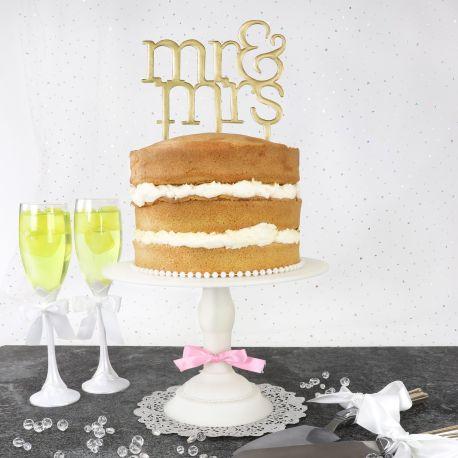 Cake topper MR et Mrs idéal pour vos gâteaux de mariage.A poser en directement sur le gâteau ou wedding CakeDimensions : 16,5cm...