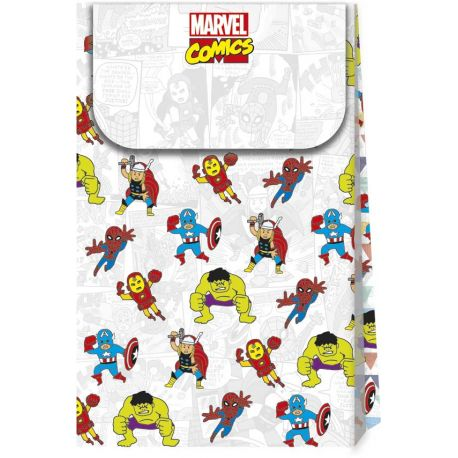 6 Pochettes cadeaux rigides thème Avengers Pop comics en carton pour la décoration de la table d'anniversaire de votre enfant