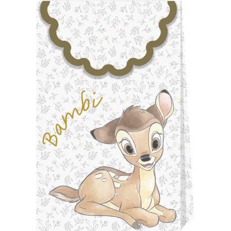 6 Pochettes cadeaux rigides thème Bambi en carton pour la décoration de la table d'anniversaire de votre enfant