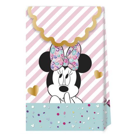 6 Pochettes cadeaux rigides thème Minnie en carton pour la décoration de la table d'anniversaire de votre enfant