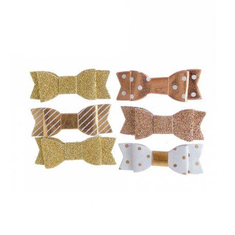 10 Noeuds or et blanc assortis autocollant pour décorer vos sachets, contenant de mariage, verres.... Dimension d'un noeud : 4.5 cm x 1.5 cm