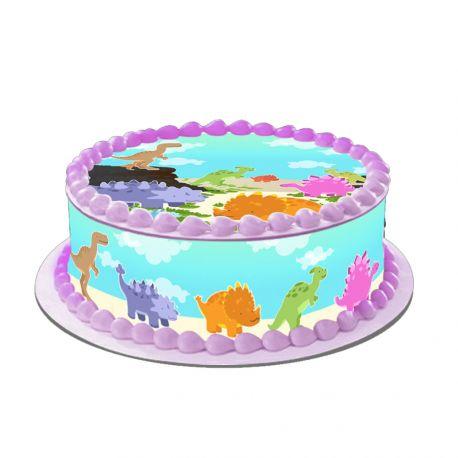 Kit décor en sucre Easycake pour réaliser la déco Baby dino d'un gâteau rond en 1 clin d'oeil ! Prévu pour un gâteau d'un diamètre de 20...