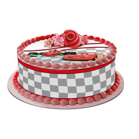 Kit décor en sucre Easycake pour réaliser la déco Cars d'un gâteau rond en 1 clin d'oeil ! Prévu pour un gâteau d'un diamètre de 20 cm...