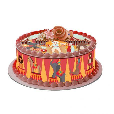 Kit décor en sucre décor cirque pour réaliser un gâteau rond en 1 clin d'oeil ! Prévu pour un gâteau d'un diamètre de 20 cm soit 8 parts...