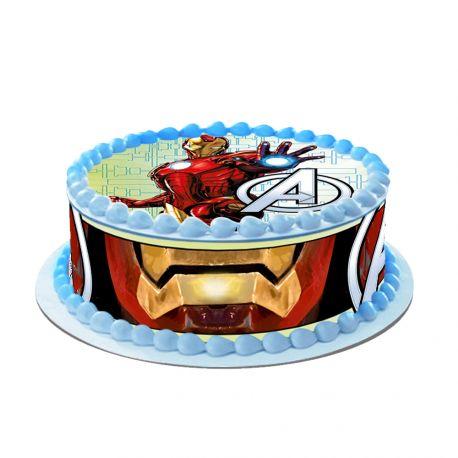 Kit décor en sucre Easycake pour réaliser la déco Iron man d'un gâteau rond en 1 clin d'oeil ! Prévu pour un gâteau d'un diamètre de 20...