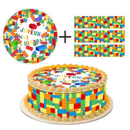 Kit décor en sucre Block Party pour réaliser un gâteau rond en 1 clin d'oeil ! Prévu pour un gâteau d'un diamètre de 20 cm soit 8 parts...
