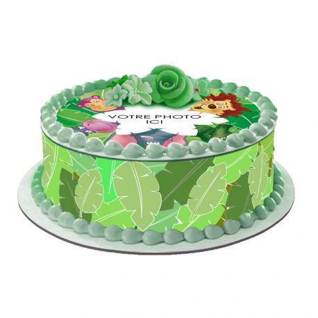 Kit décor en sucre Easycake Jungle pour réaliser un gâteau rond en 1 clin d'oeil ! Prévu pour un gâteau d'un diamètre de 20 cm soit 8...