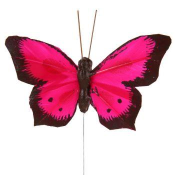 6 Papillons bicolore sur tige fuschia