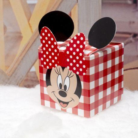Boite à dragées Minnie en forme de cube pour offrir à vos invités lors du baptême de votre enfant Dimensions : 5 x 5 x 5cm