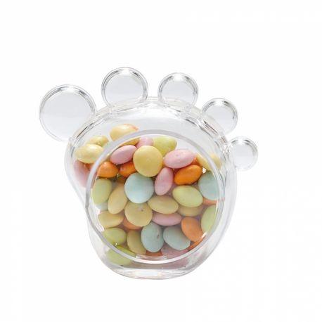 Boite en plexi transparente en forme de pied à remplir de dragées ou de bonbons Dimensions: 6 x 6 x 2.5cm