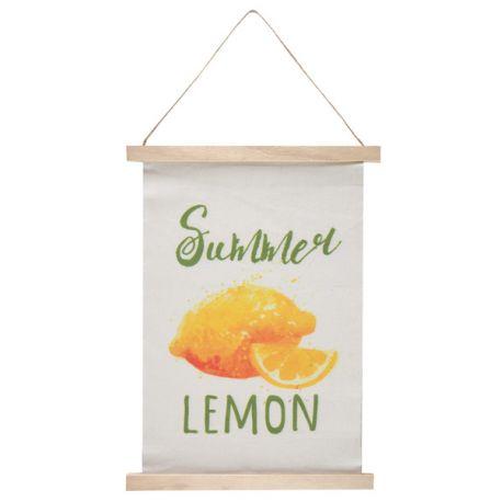 Superbe pancarte fanion décor Citron en bois et tissu avec une corde pour la suspendre idéal pour une décoration estivale Dimensions :...