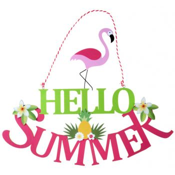Pancarte Hello summer flamingo