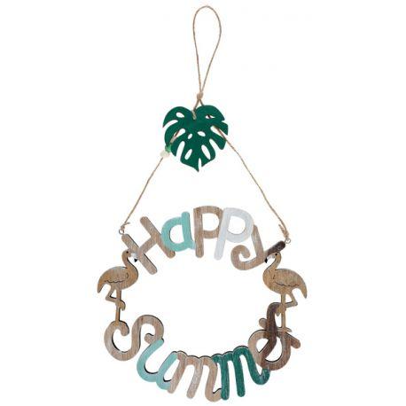 Superbe pancarte Happy Summer nature en bois avec une corde pour la suspendre idéal pour une décoration estivale et naturelle Dimensions...