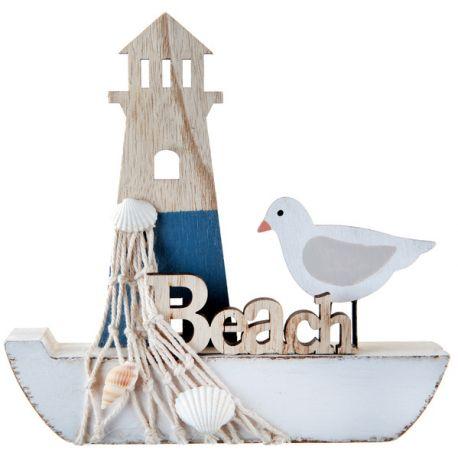 Superbe décor à poser en bois en forme de bateau de pêche idéal pour une décoration bord de mer Dimensions : 15 x 2.5 x 14.5 cm