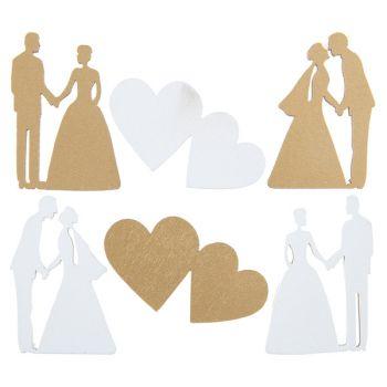 18 décors en bois just married métallisé