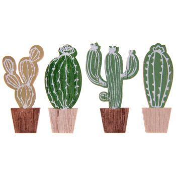 4 décors en bois cactus