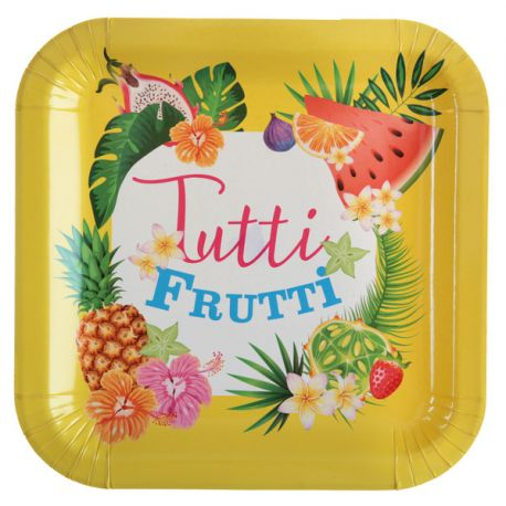 10 Assiettes en carton thème tutti frutti Dimensions : Ø 22.5 cm