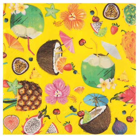 20 serviettes en papier thème tutti frutti Dimensions : 16.5 x 16.5 cm