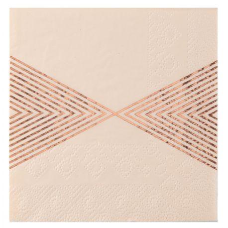 20 serviettes en papier striées métallisées gold rose Dimensions : 12.5 x 12.5 cm