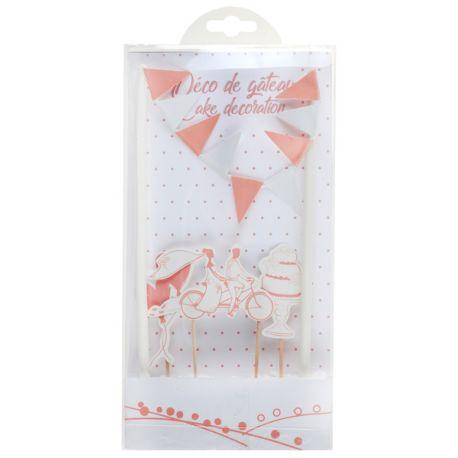 Kit pour décorer un gâteau thème mariage guinguette Contient 6 pièces Dimensions : 3 x 7 cm & 19.2 x 0.6 cm Matière: carton et bois