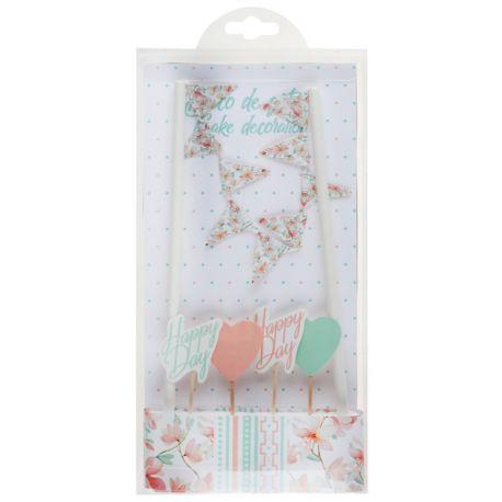 Kit pour décorer un gâteau thème Happy Day Contient 6 pièces Dimensions : 3 x 7 cm & 19.2 x 0.6 cm Matière: carton et bois
