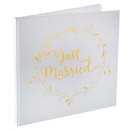 Livre d'or Just married métallisé or Dimensions : 24 x 24 cm