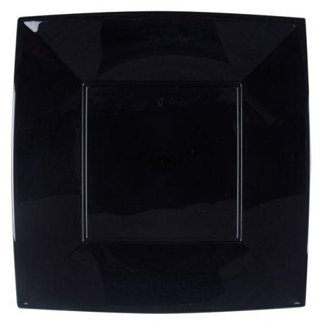 8 Mega Assiettes en polypropylène de couleur noire Dimensions: 29cm x 29cm