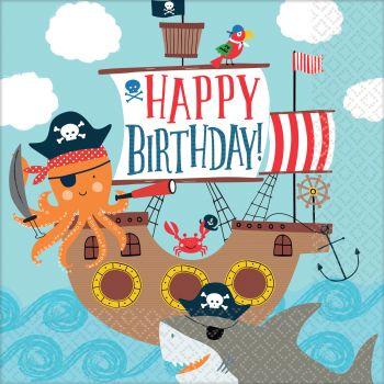 16 Serviettes Pirate ahoy