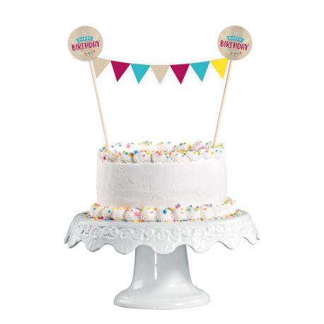 Superbe décor de gâteau composé de 2 pics My Birthday party avec guirlandes de fanions multiocolore Il suffit juste de piquer le décor...