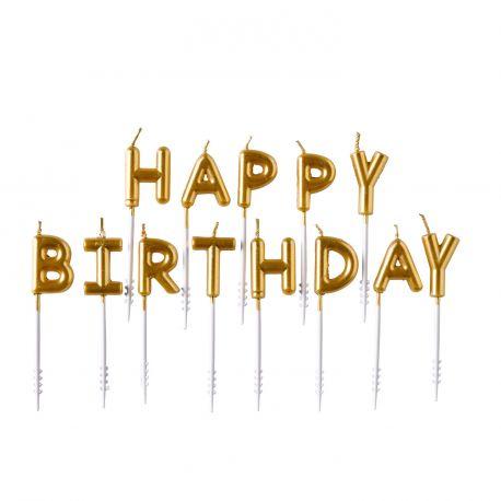 Set de 13 bougie or en forme de lettre HAPPY BIRTHDAY