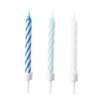 10 Bougies anniversaire rayures tons bleu