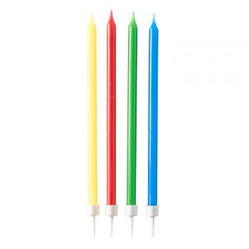 12 Bougies anniversaire longue multicolore 12cm