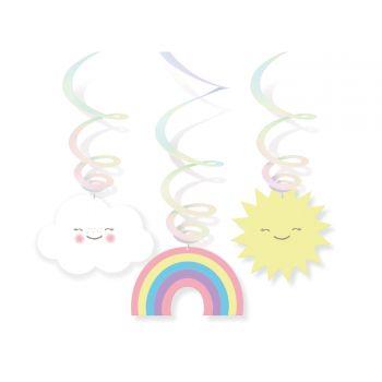 6 guirlandes swirl nuage rainbow