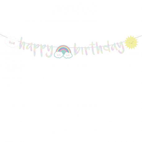 Banderole Happy Birthday nuage rainbow