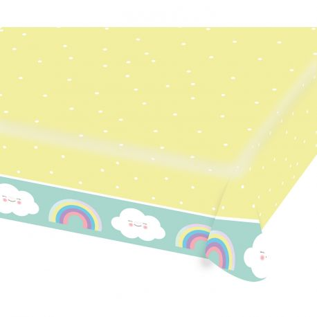 Nappe en papier nuage rainbow pour une belle décoration de table d'anniversaireDimensions : 1.15m x 1.75m