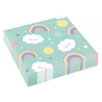 20 Serviettes nuage rainbow