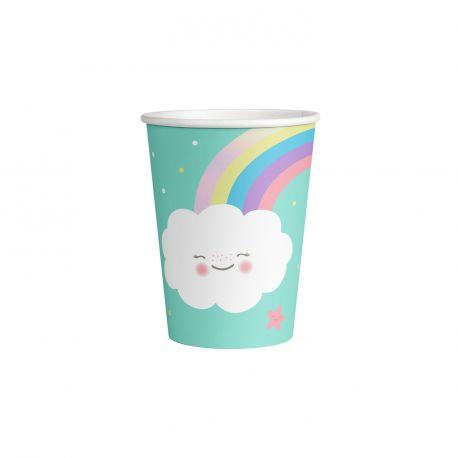 8 Gobelets en carton nuage rainbow pour une belle décoration de table d'anniversaire