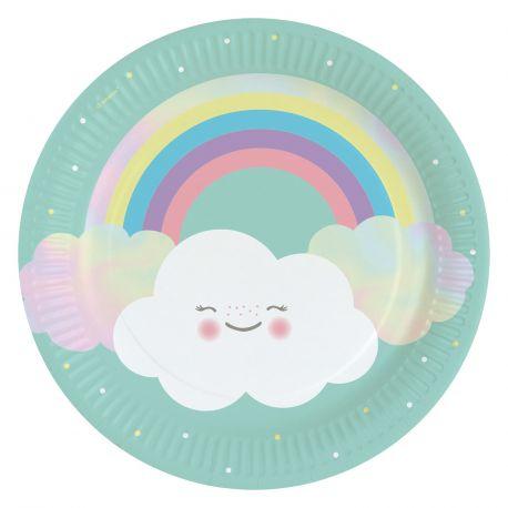8 Assiettes en carton nuage rainbow pour une belle décoration de table d'anniversaire Dimension: Ø23cm