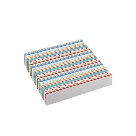 20 Serviettes dessert en papier Indiens pour une belle décoration de table d'anniversaire Dimensions : 25cm x 25cm