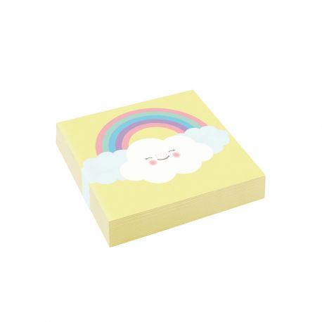 20 Serviettes dessert en papier nuage rainbow pour une belle décoration de table d'anniversaire Dimensions : 25cm x 25cm