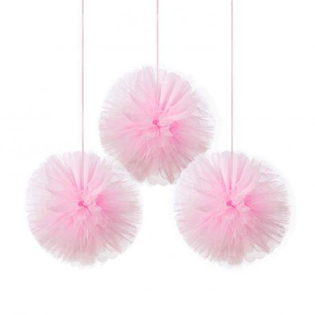 3 Boules en tulle rose à suspendre pour une superbe décoration de salle Dimension: 180cm
