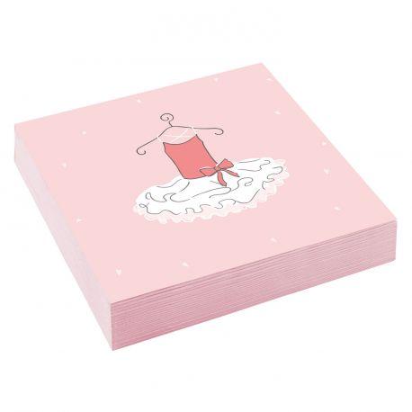 20 Serviettes en papier petite danseuse pour une belle décoration de table d'anniversaire Dimensions: 33cm x 33cm