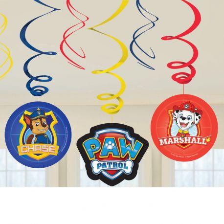 6 guirlandes swirl Pat Patrouille pour une belle décoration d'anniversaire