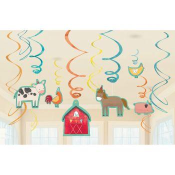 12 Suspensions Ferme festive